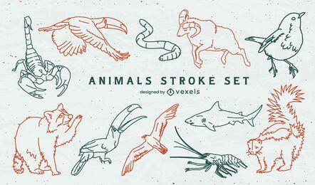 Conjunto de trazos de animales salvajes transparentes