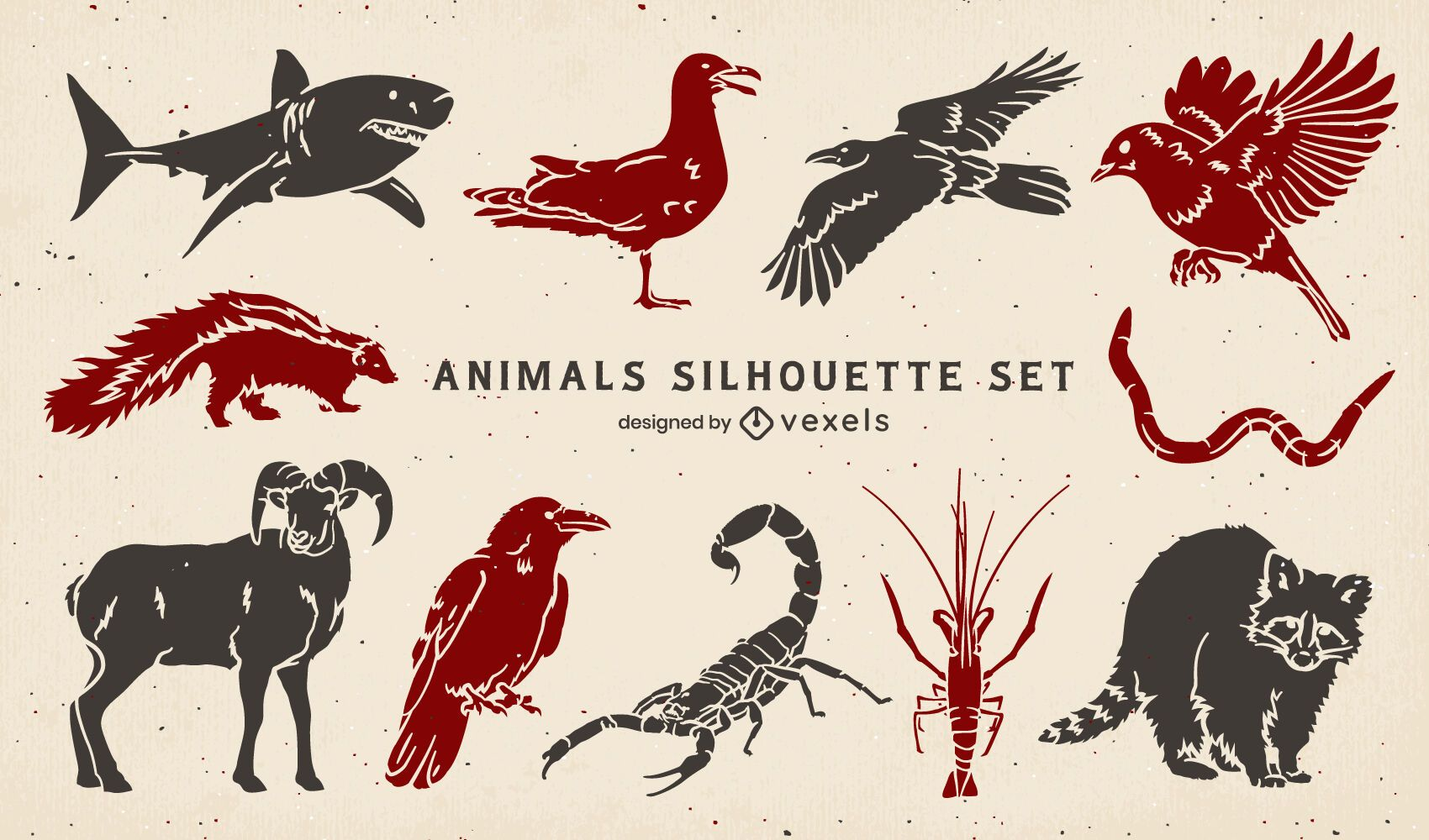 Conjunto de silhuetas de animais selvagens