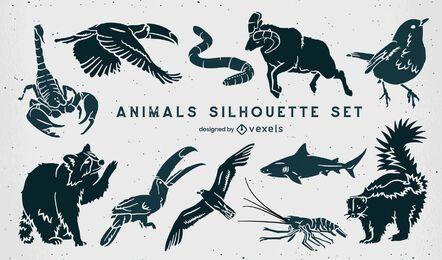 Conjunto de siluetas de animales salvajes