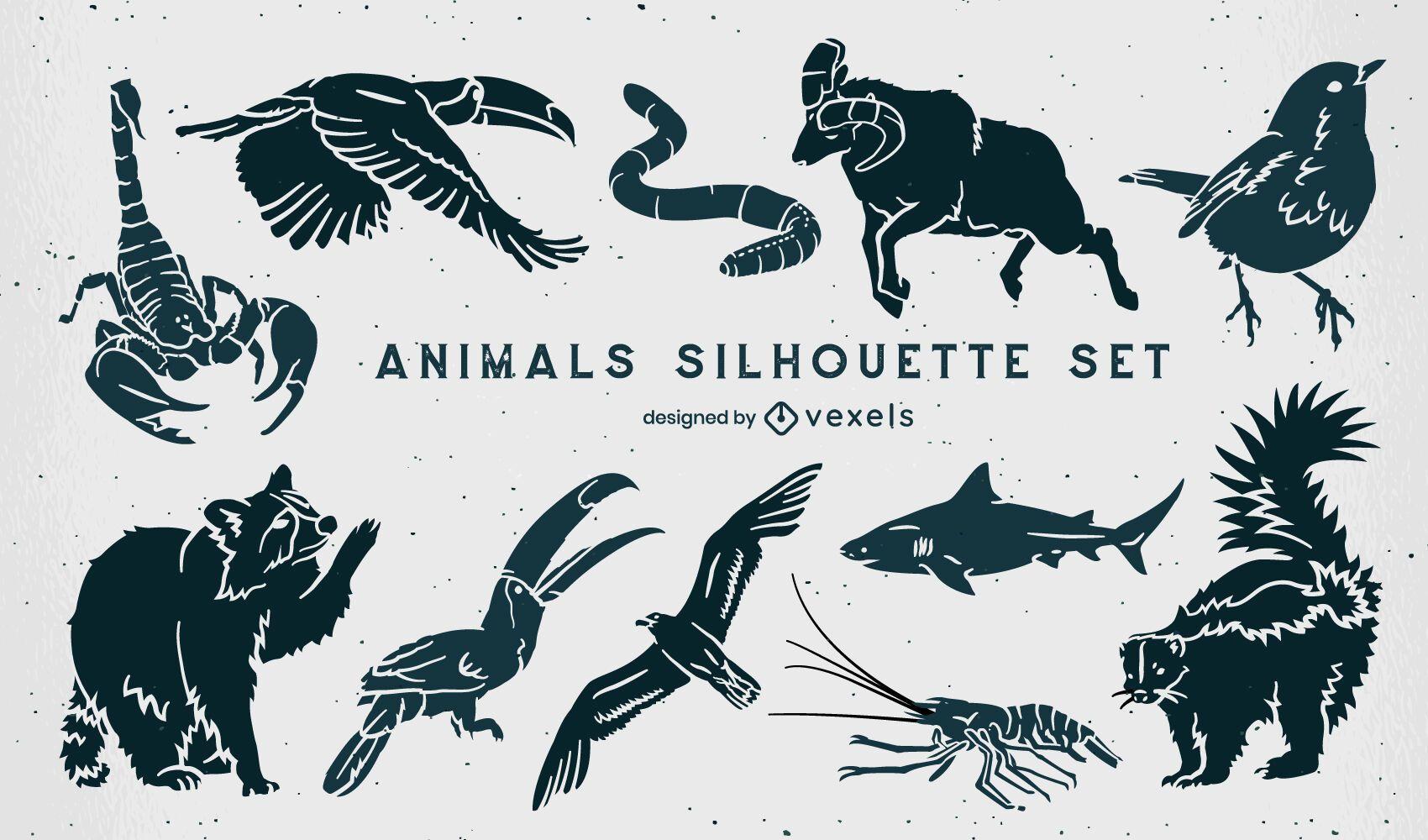 Set von wilden Tieren Silhouetten animals