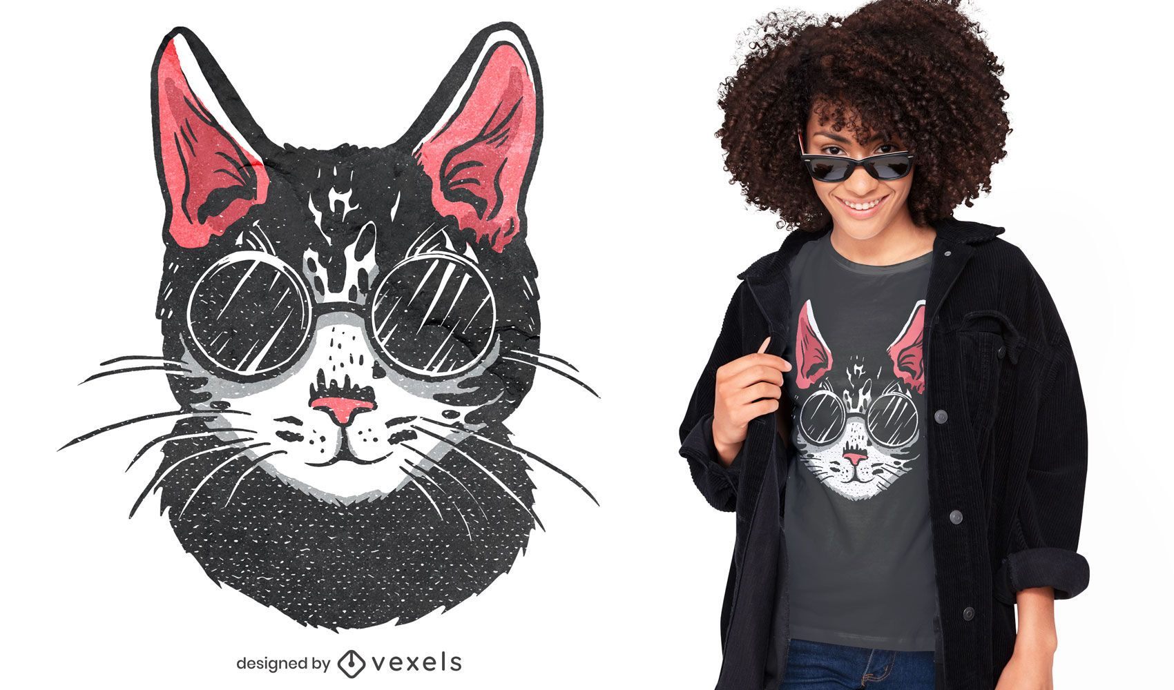 Black cat sunglasses t-shirt design