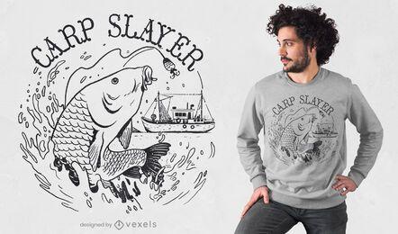 Carp fish line art t-shirt design