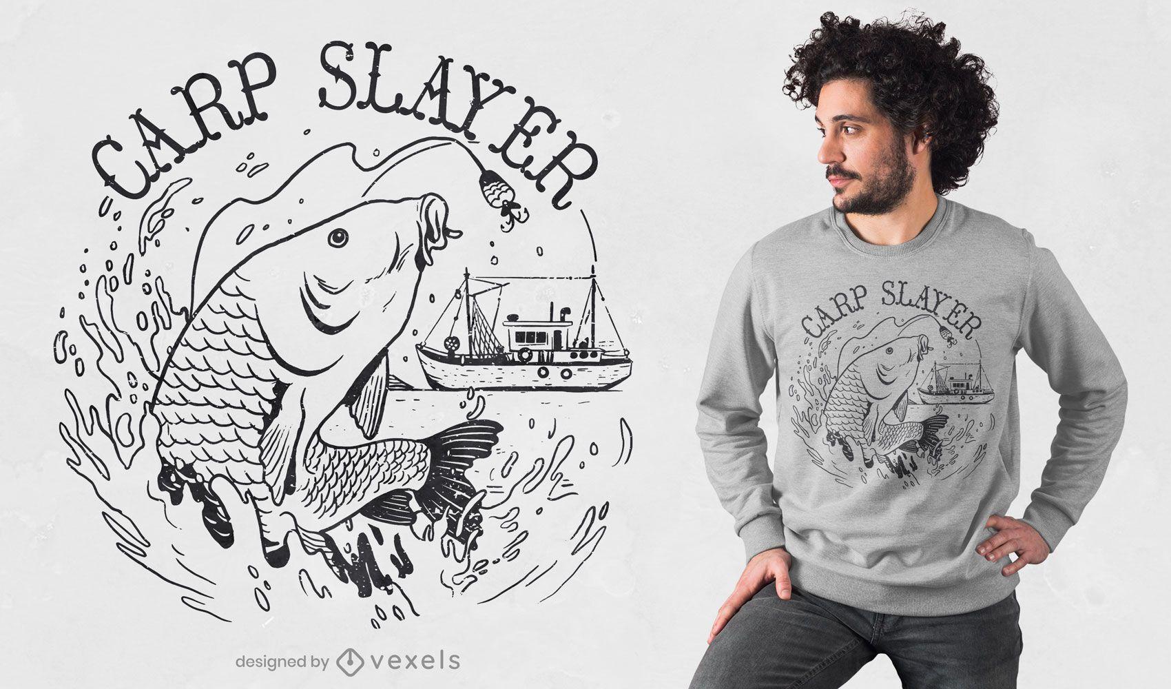 Diseño de camiseta de arte de línea de pez carpa.