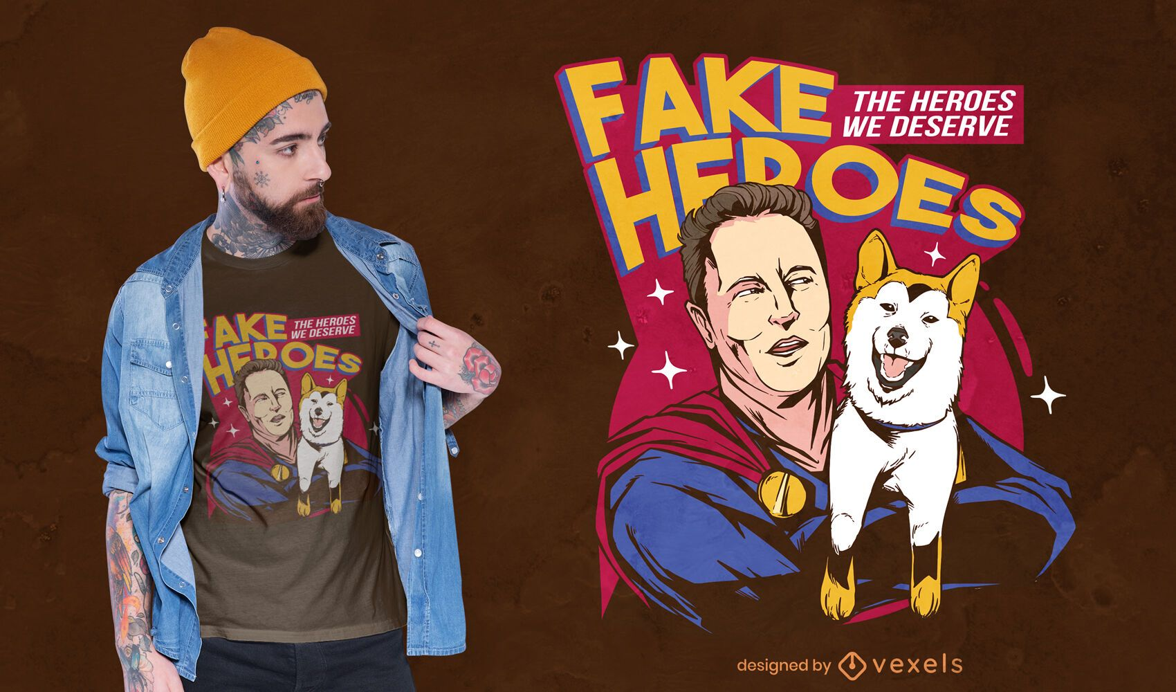 Hero with shiba inu dog t-shirt design