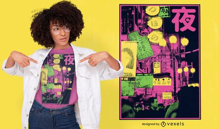 Japanese city photographic t-shirt design