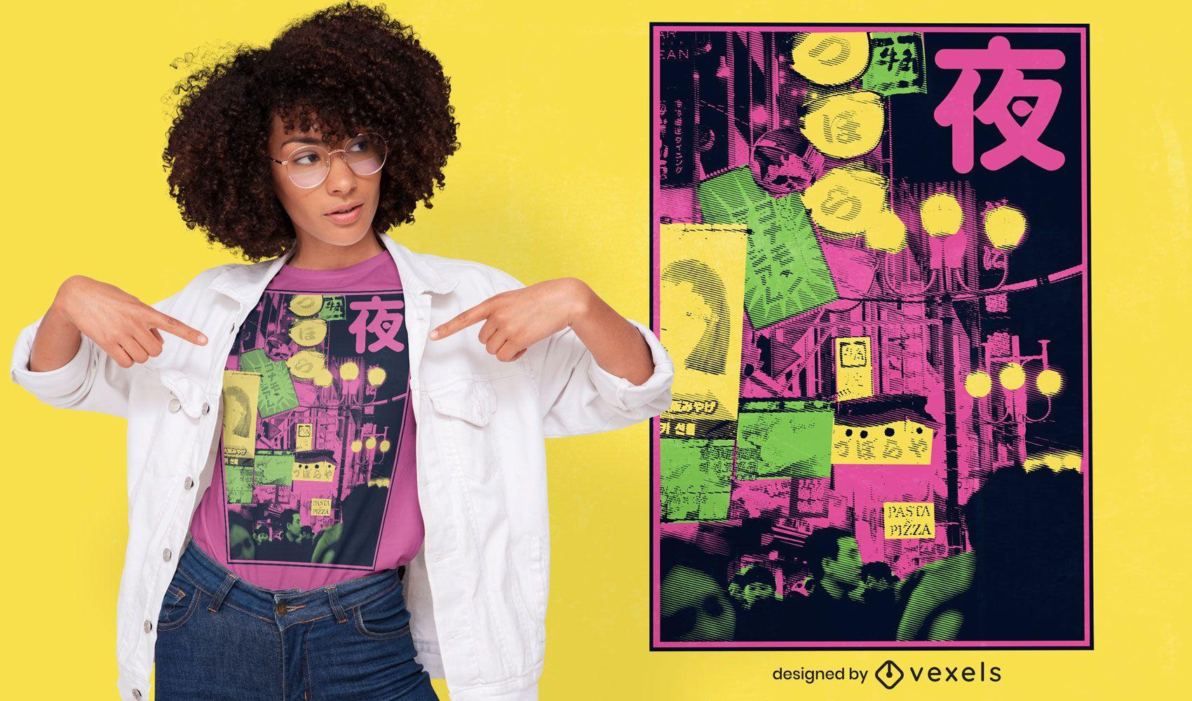 Japanisches fotografisches Stadt-T-Shirt Design