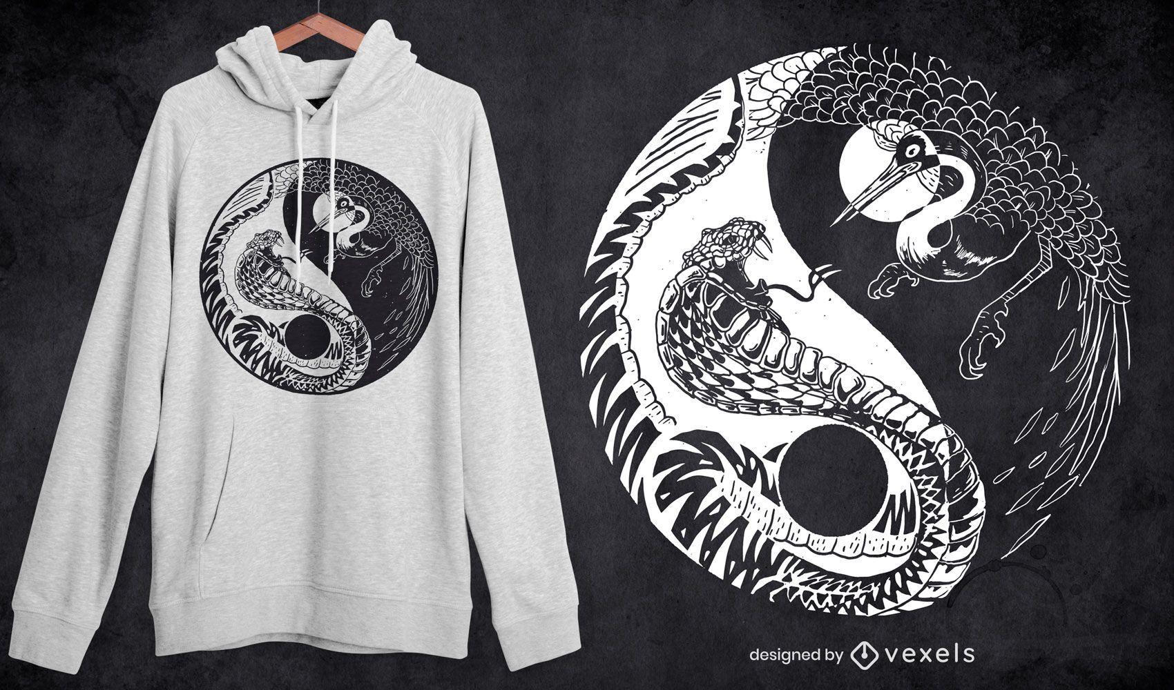 Diseño de camiseta de animales dibujados a mano de yin yang.