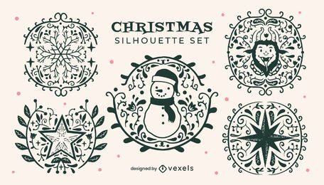 Conjunto de insignias de silueta de Navidad