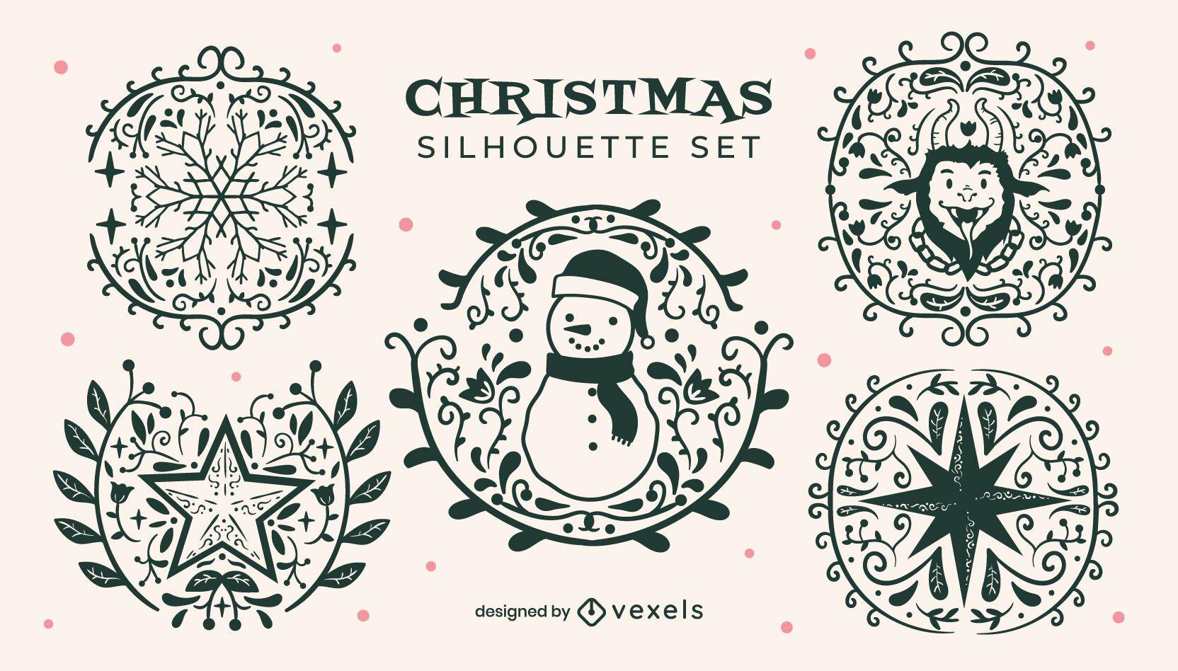 Christmas silhouette badges set