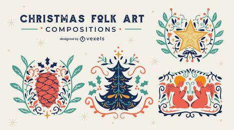 Christmas folk art badges set