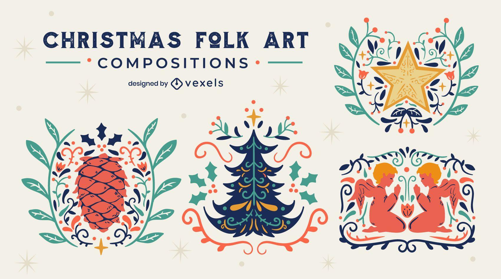 Conjunto de emblemas de arte folclórica de Natal