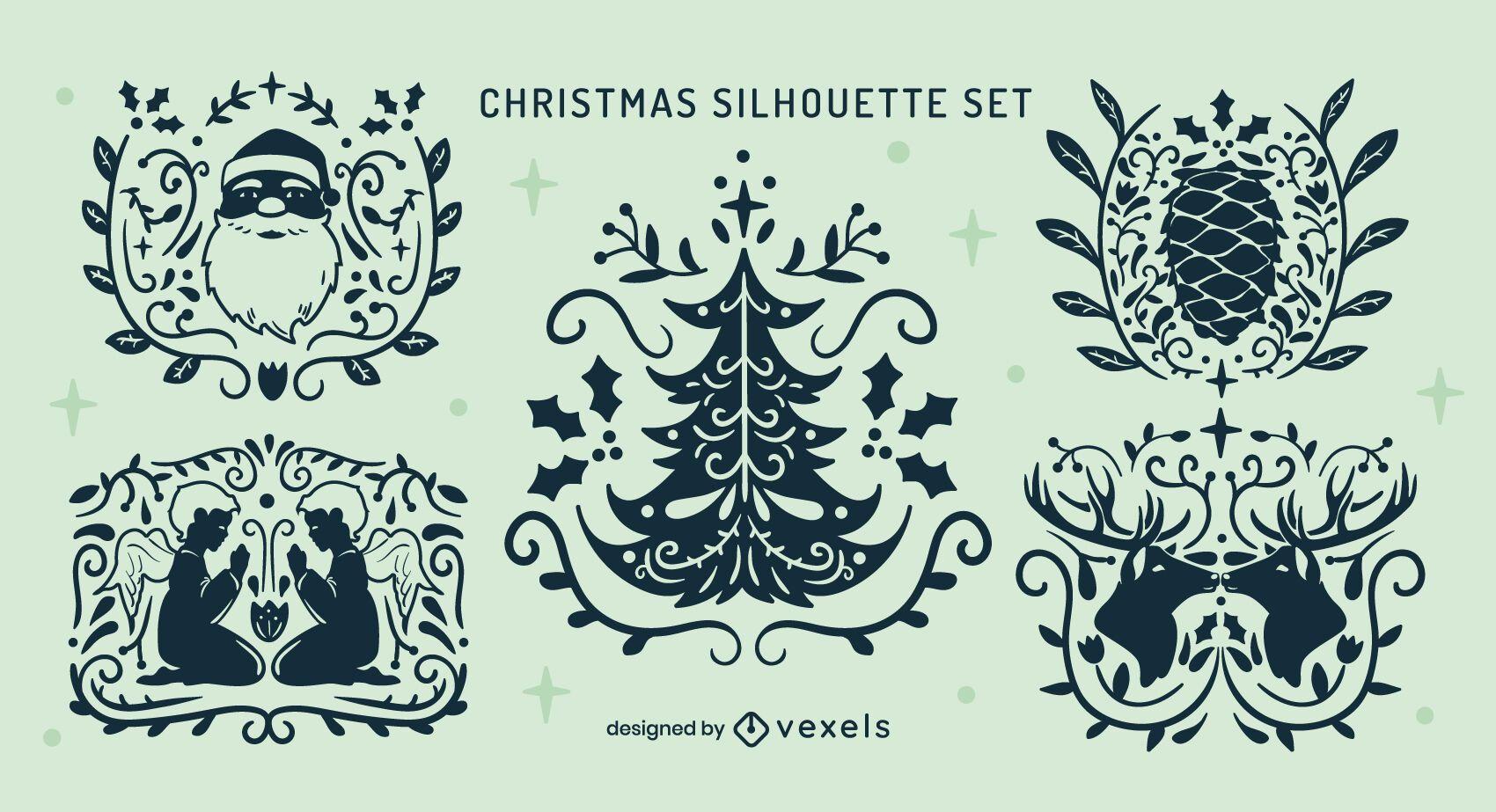 Conjunto de emblemas de natal ornamentados fantásticos