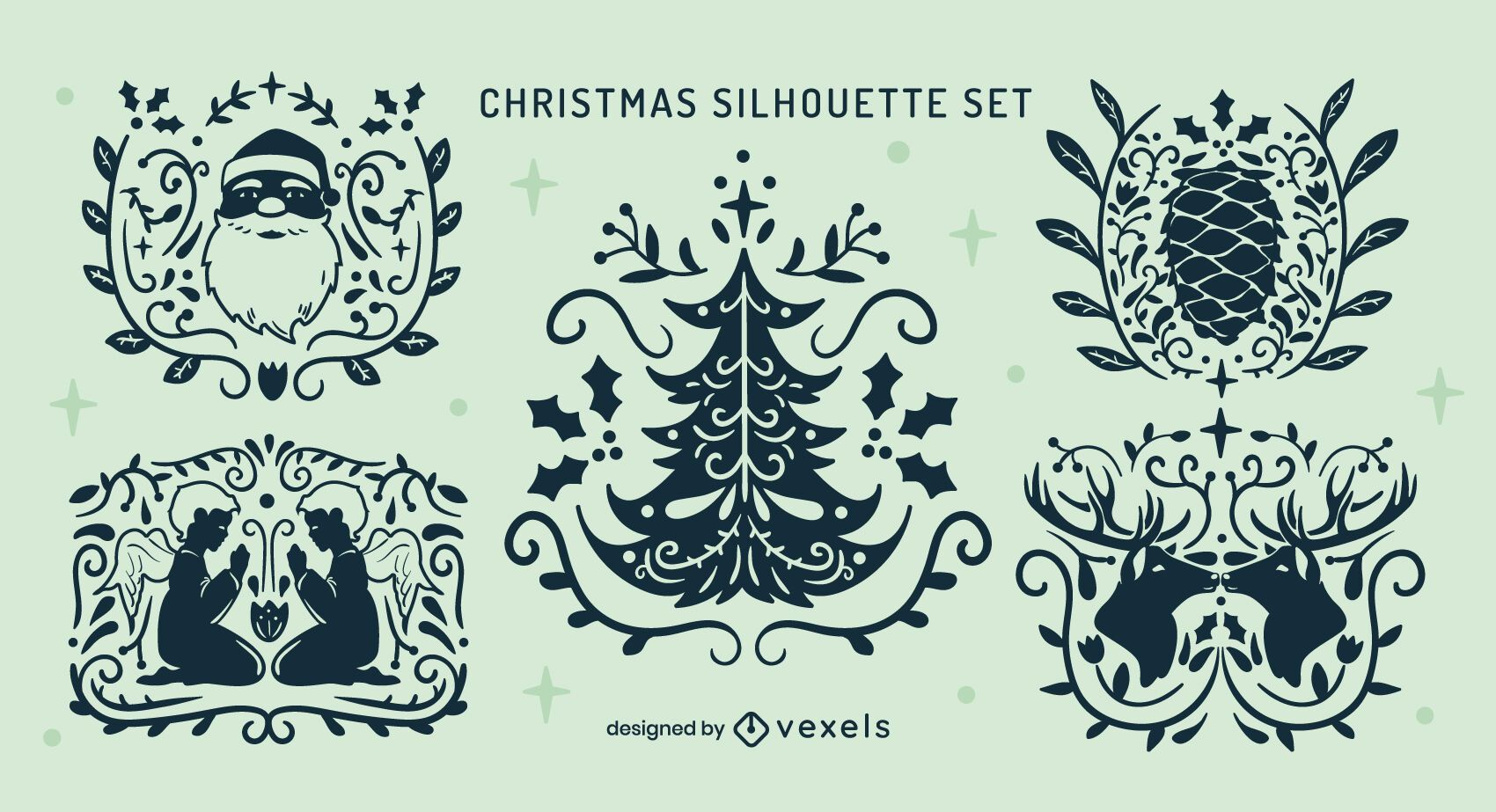 Set of cool ornamented christmas badges