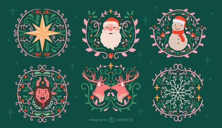 Christmas decoration traditional badges