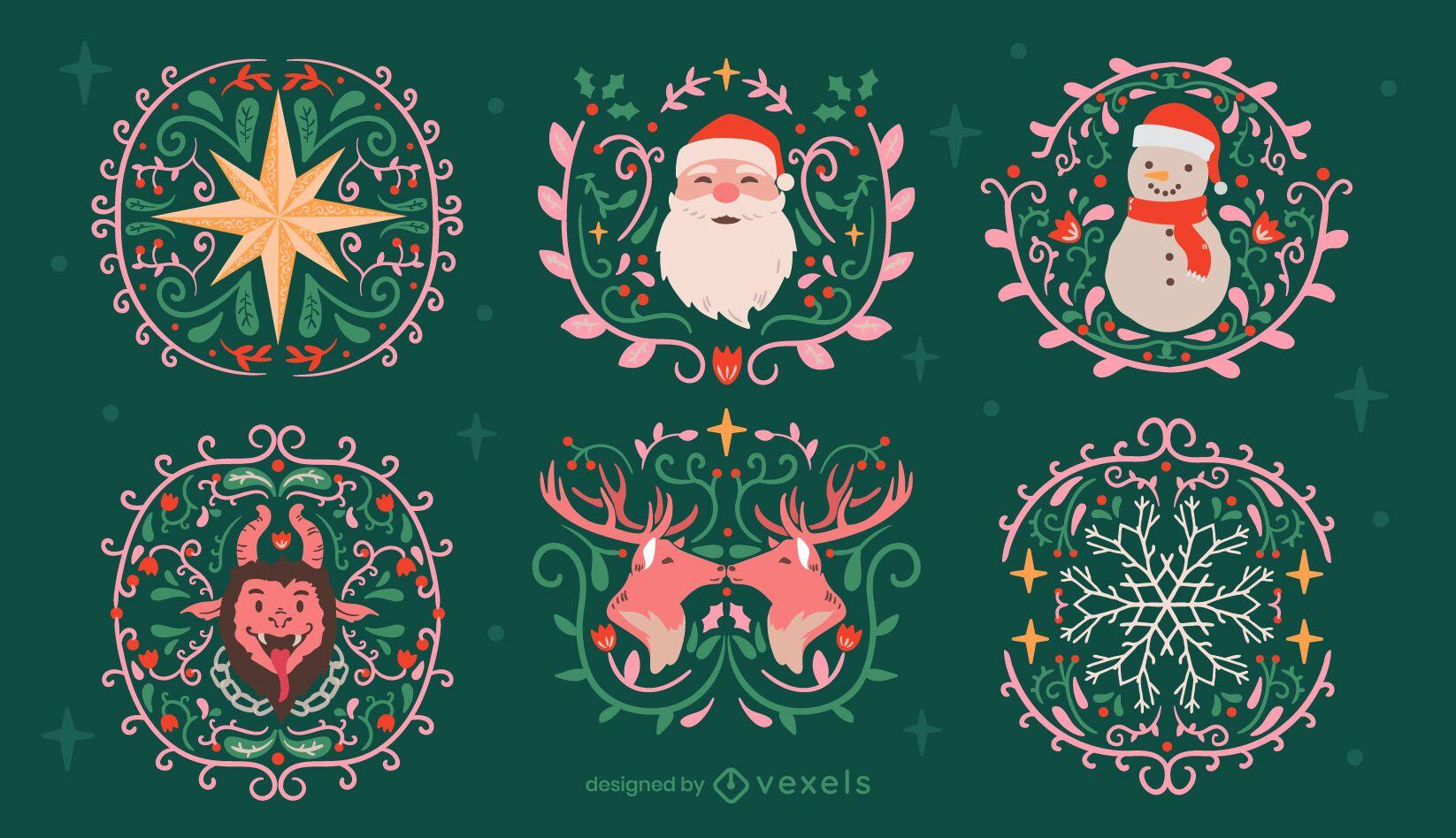 Insignias tradicionales de decoración navideña.