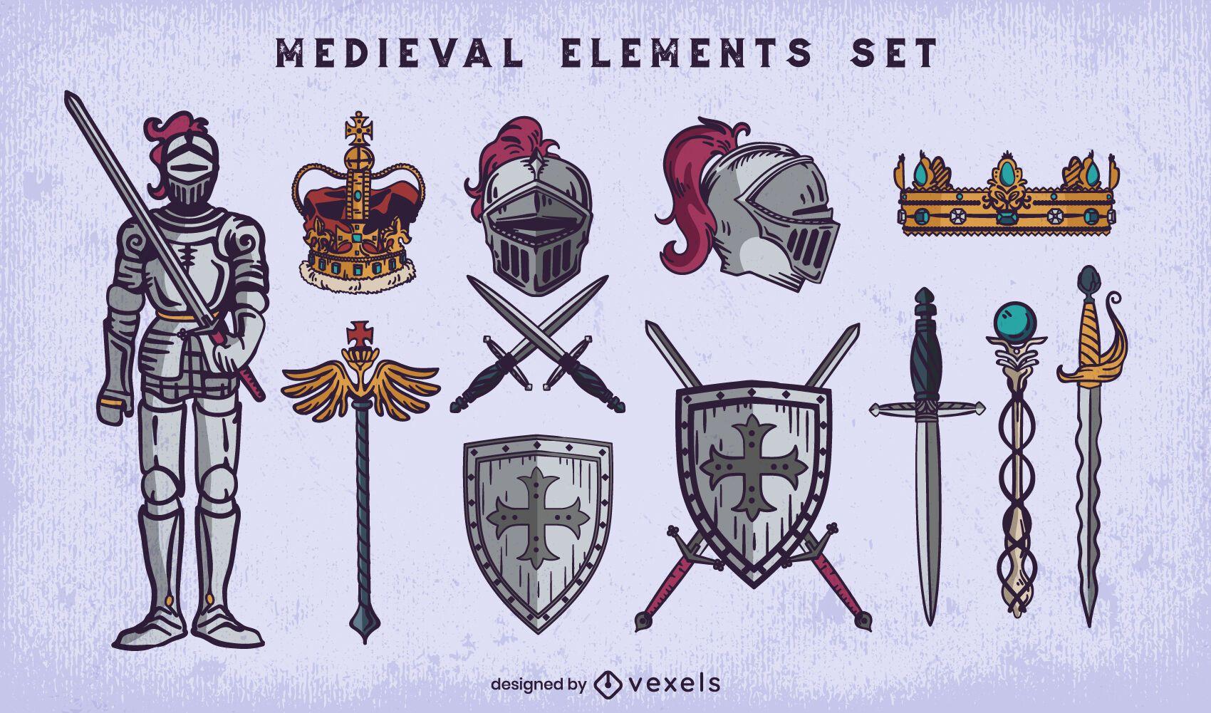 Medieval kinght detailed illustration set