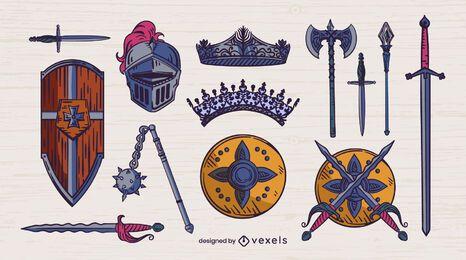 Mittelalterlicher Waffenfarbstrich