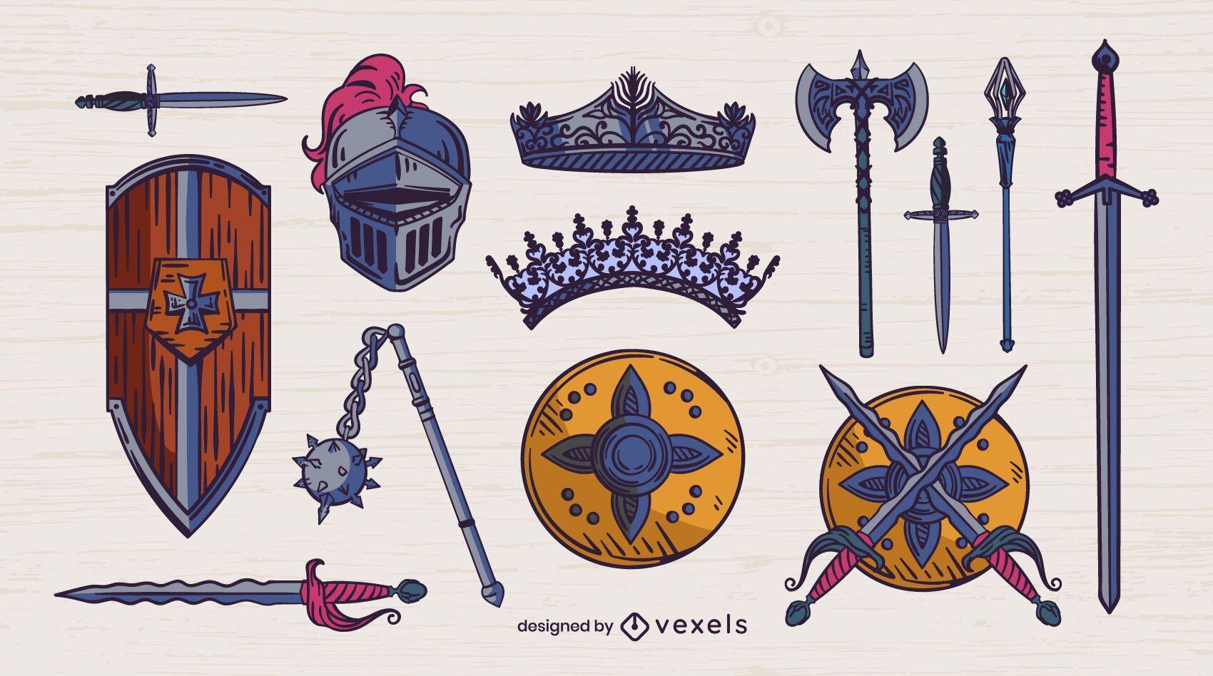 Conjunto medieval de trazo de color de armas.