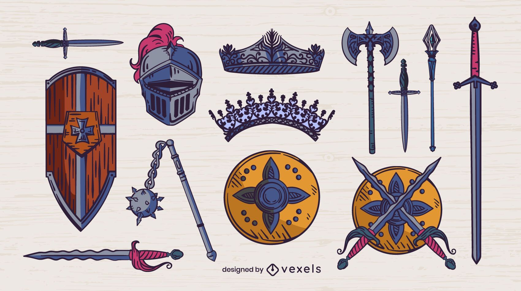 Medieval set of weapons color stroke