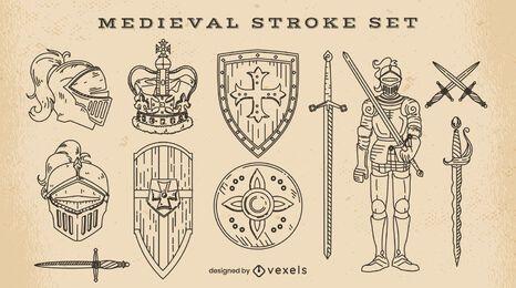Conjunto de elementos medievales de trazo.