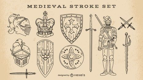Set of stroke medieval elements