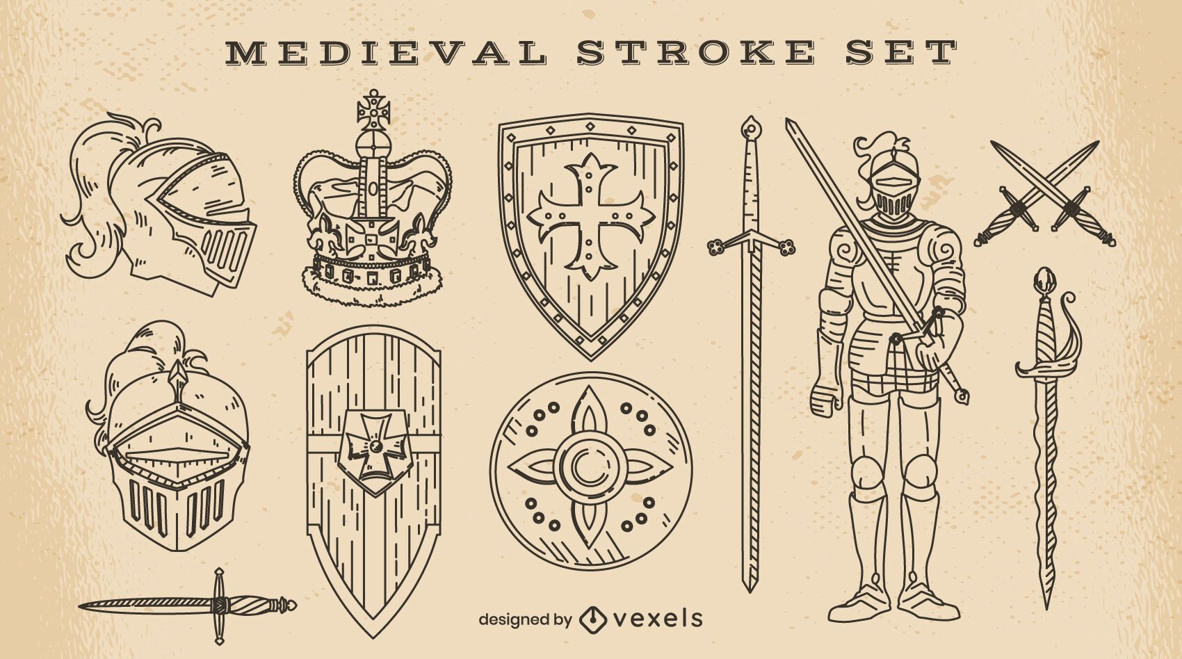 Conjunto de elementos medievais de traço