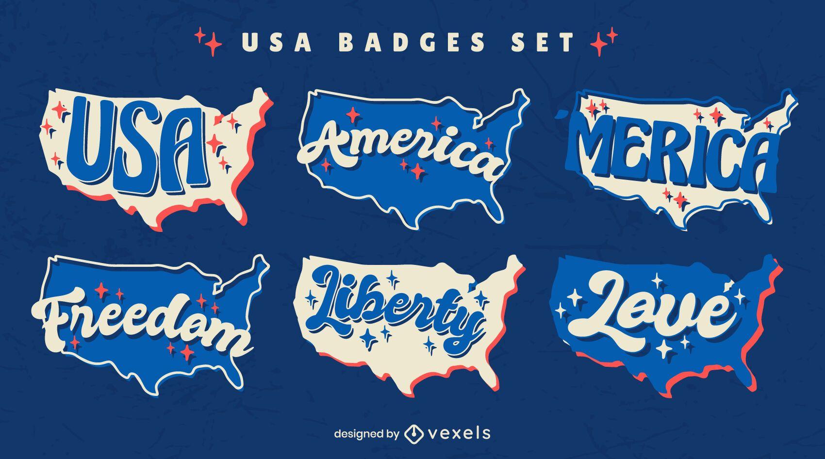 Conjunto de emblemas retrô dos EUA para quatro de julho