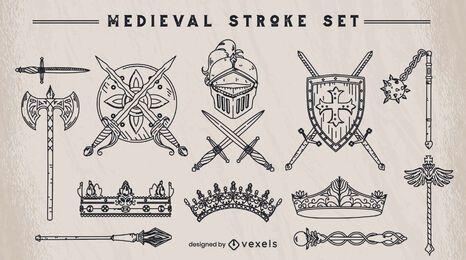 Conjunto de elementos de trazo medieval.