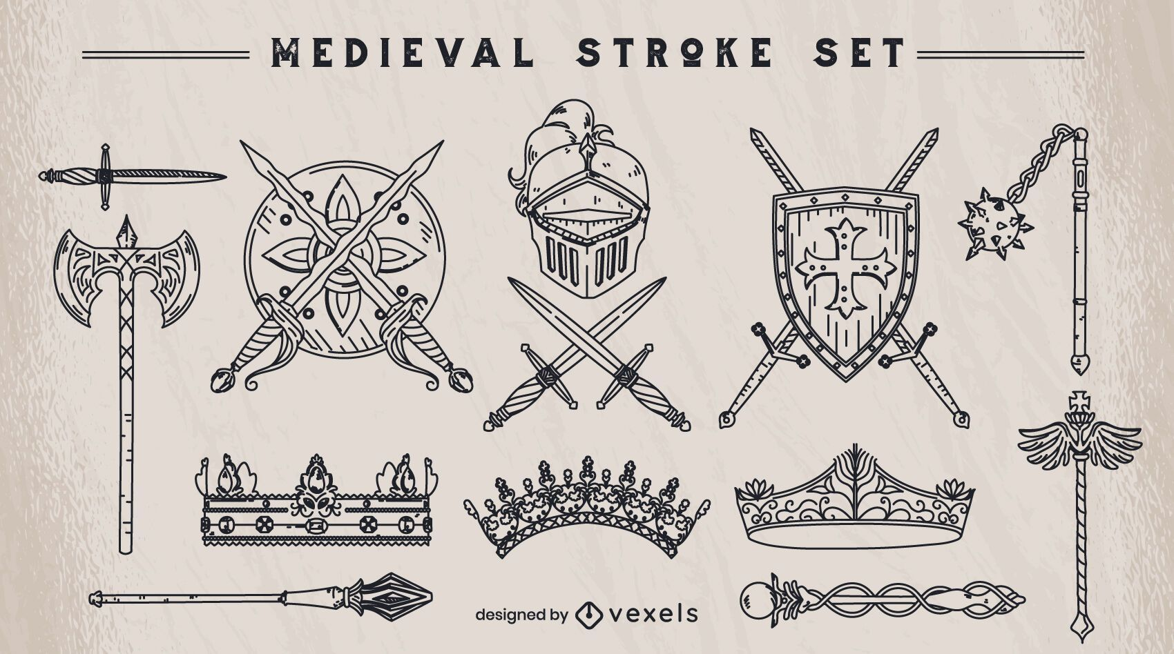 Conjunto de elementos de traço medievais