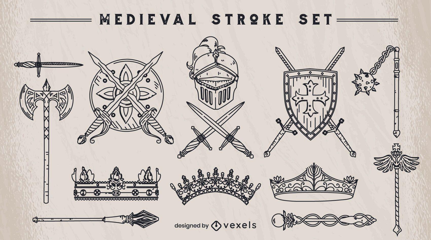 Set of medieval stroke elements