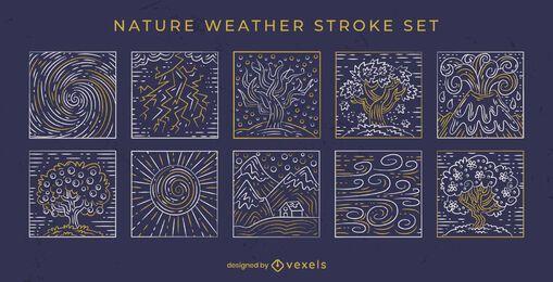 Handgezeichnete Strich-Natur-Elemente