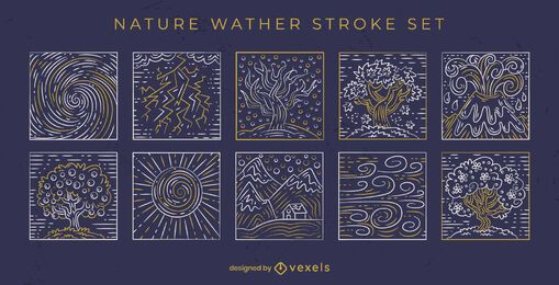 Hand drawn stroke nature elements