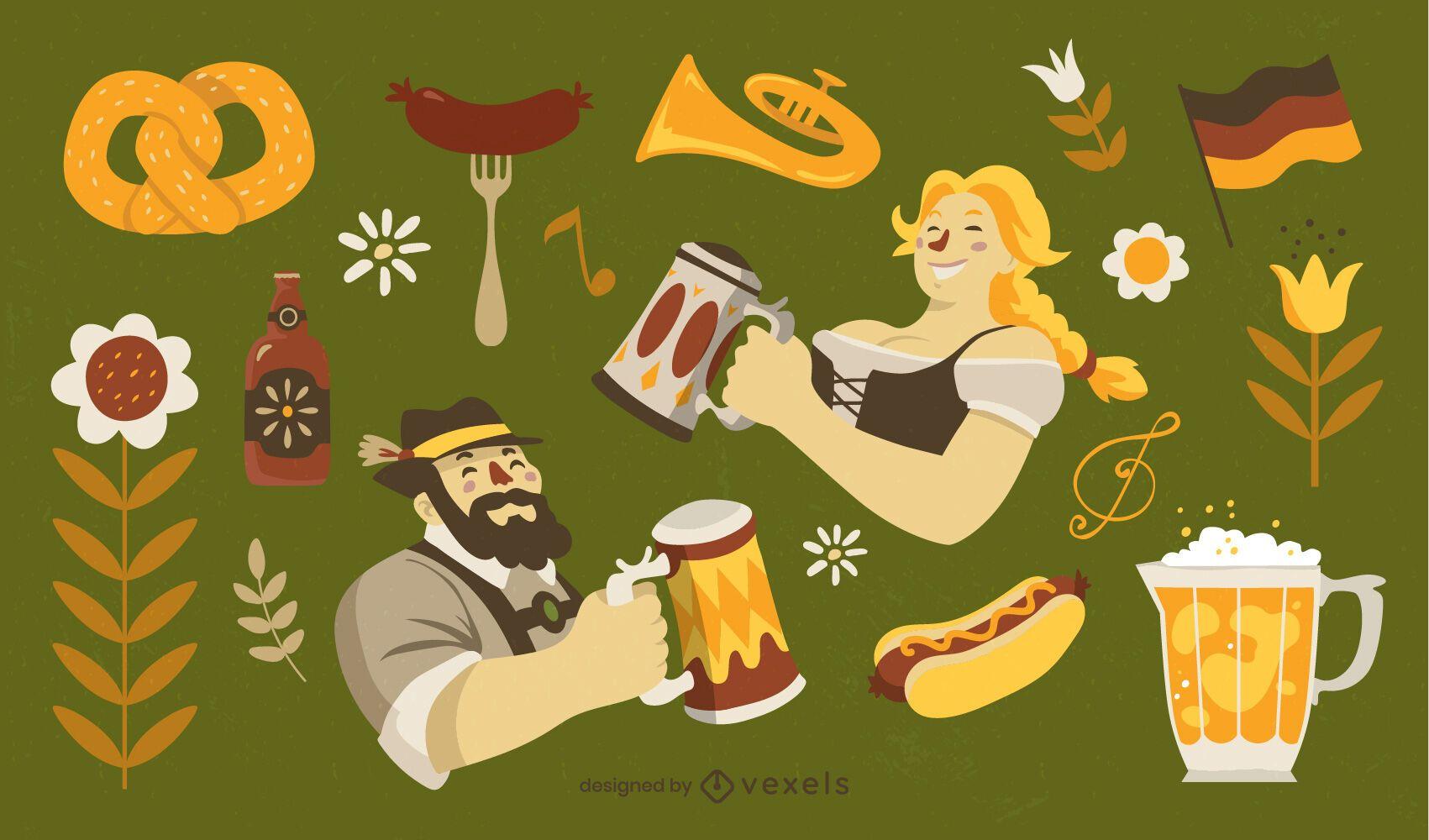 Oktoberfest german cultural elements set