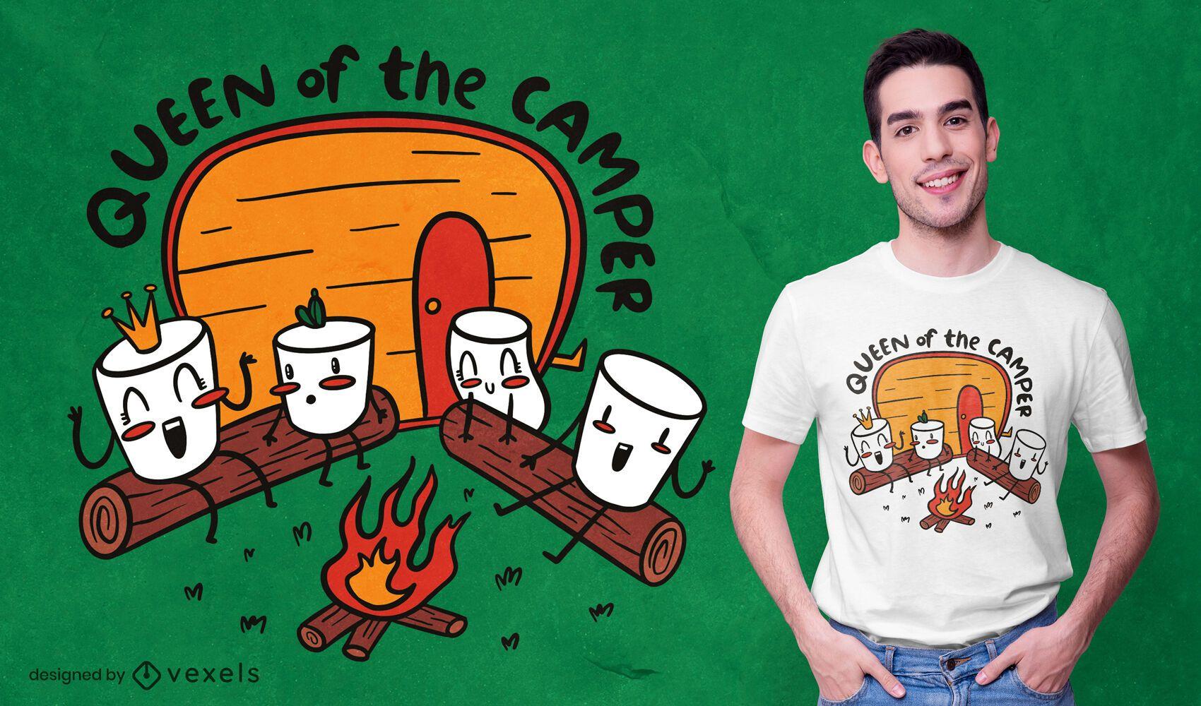Diseño de camiseta de camping de personajes de malvavisco.