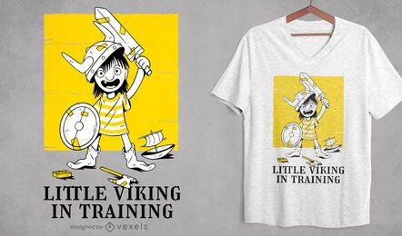 Desenho de t-shirt guerreiro de treinamento infantil viking