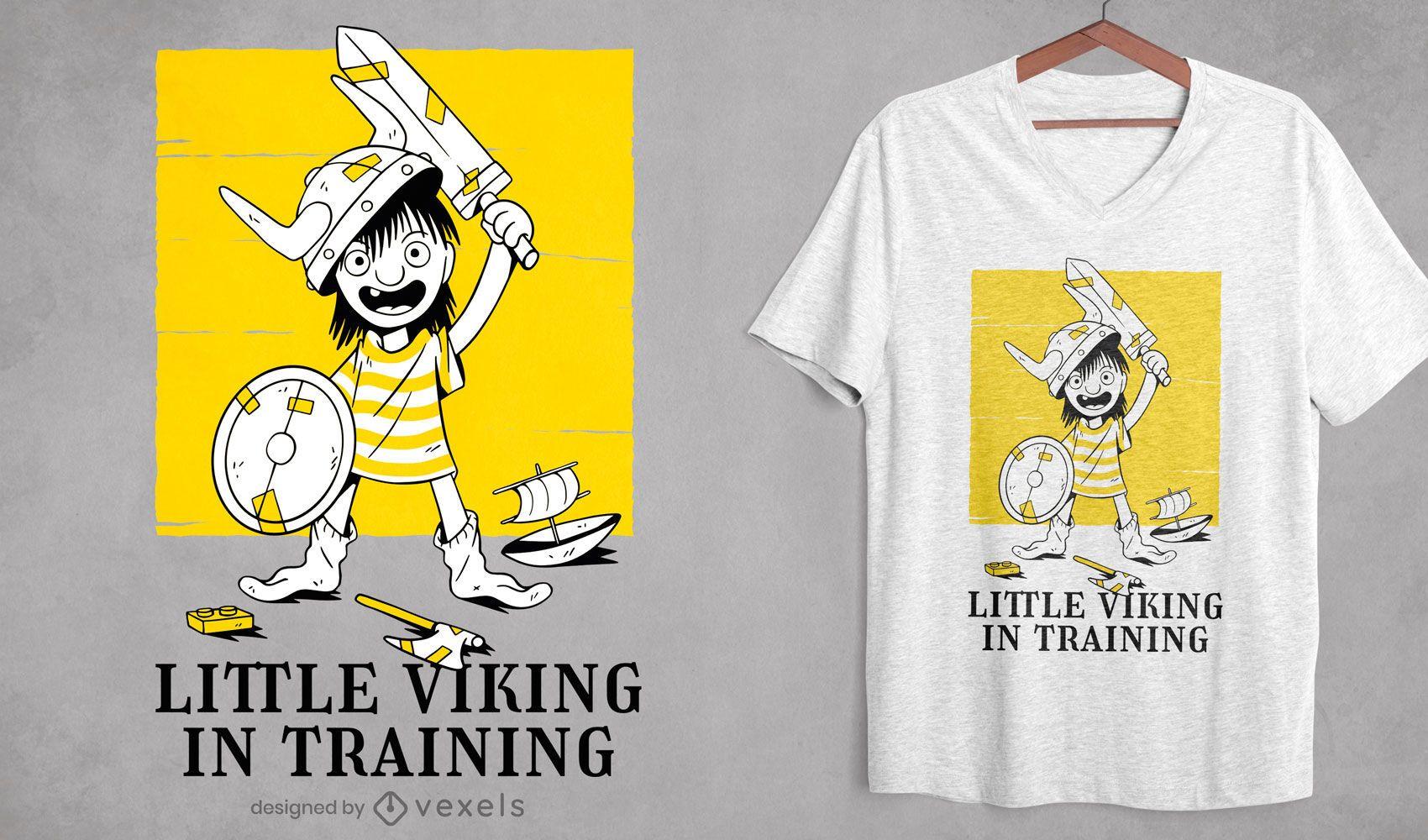 Diseño de camiseta de guerrero de entrenamiento infantil vikingo.