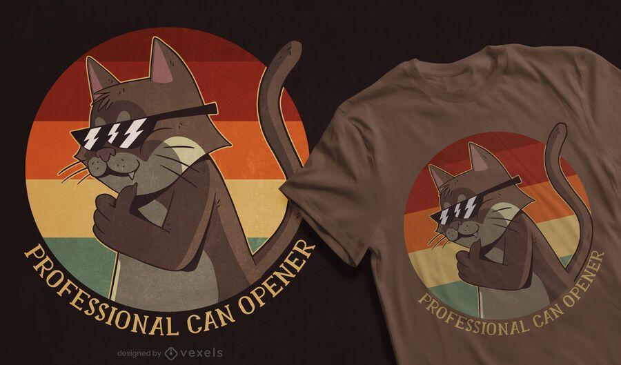 Design de t-shirt retro por do sol com um gato fixe