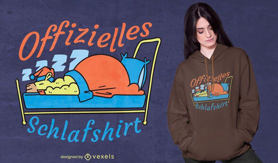 Diseño de camiseta de dibujos animados durmiendo de alpaca.