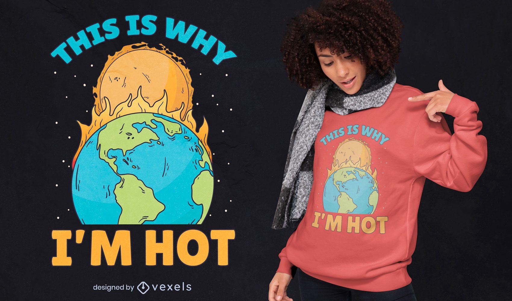 Design de camiseta com sol queimando a terra