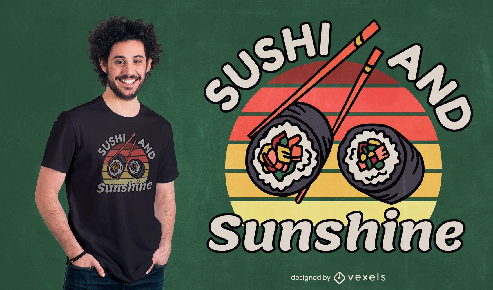 Design de t-shirt com citação de comida japonesa sushi