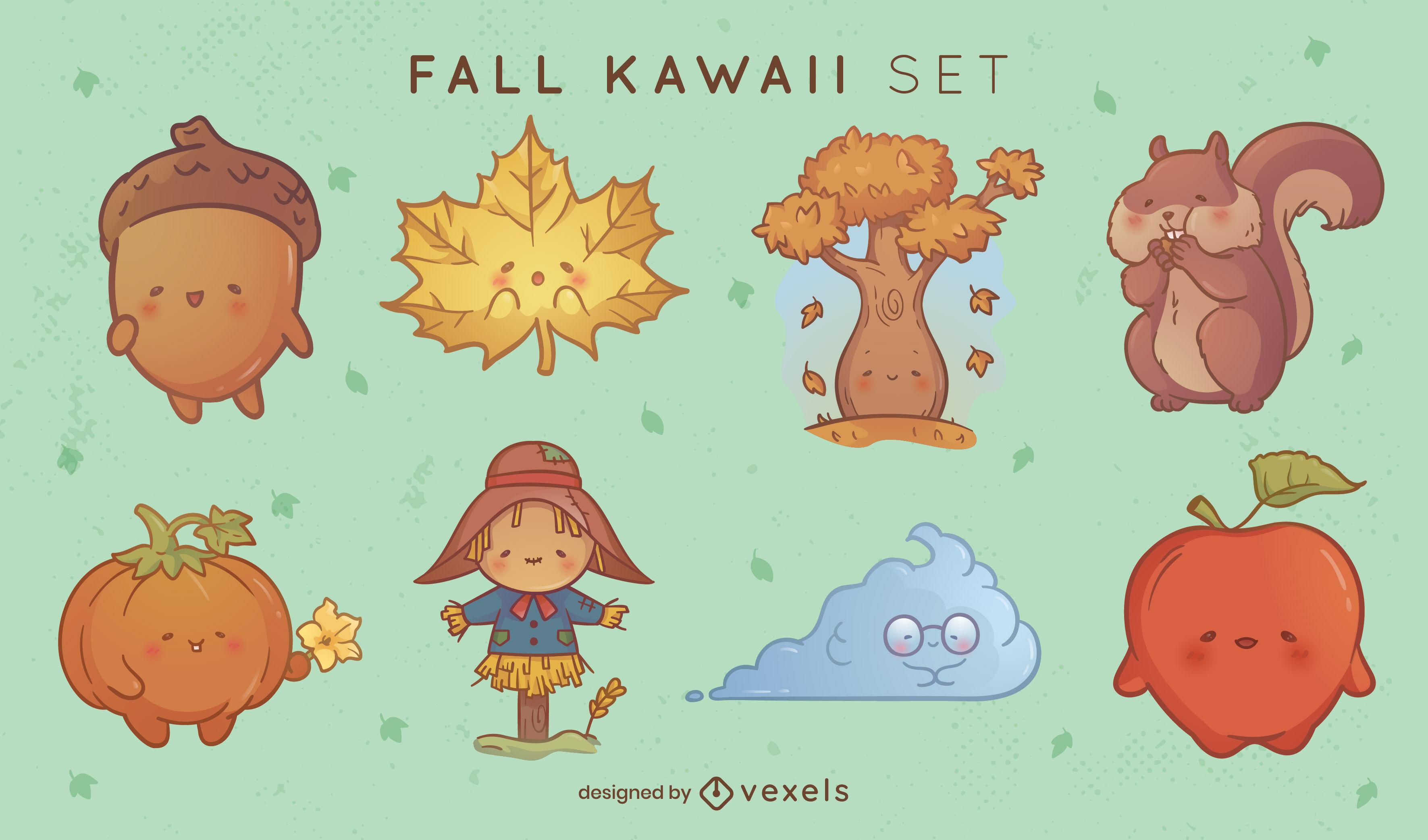 Conjunto de personagens de outono kawaii