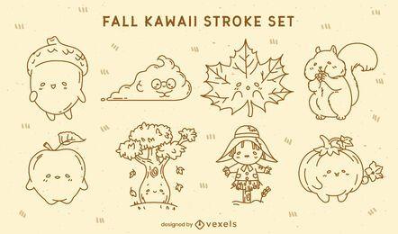 Conjunto de caracteres do traço de outono do Kawaii