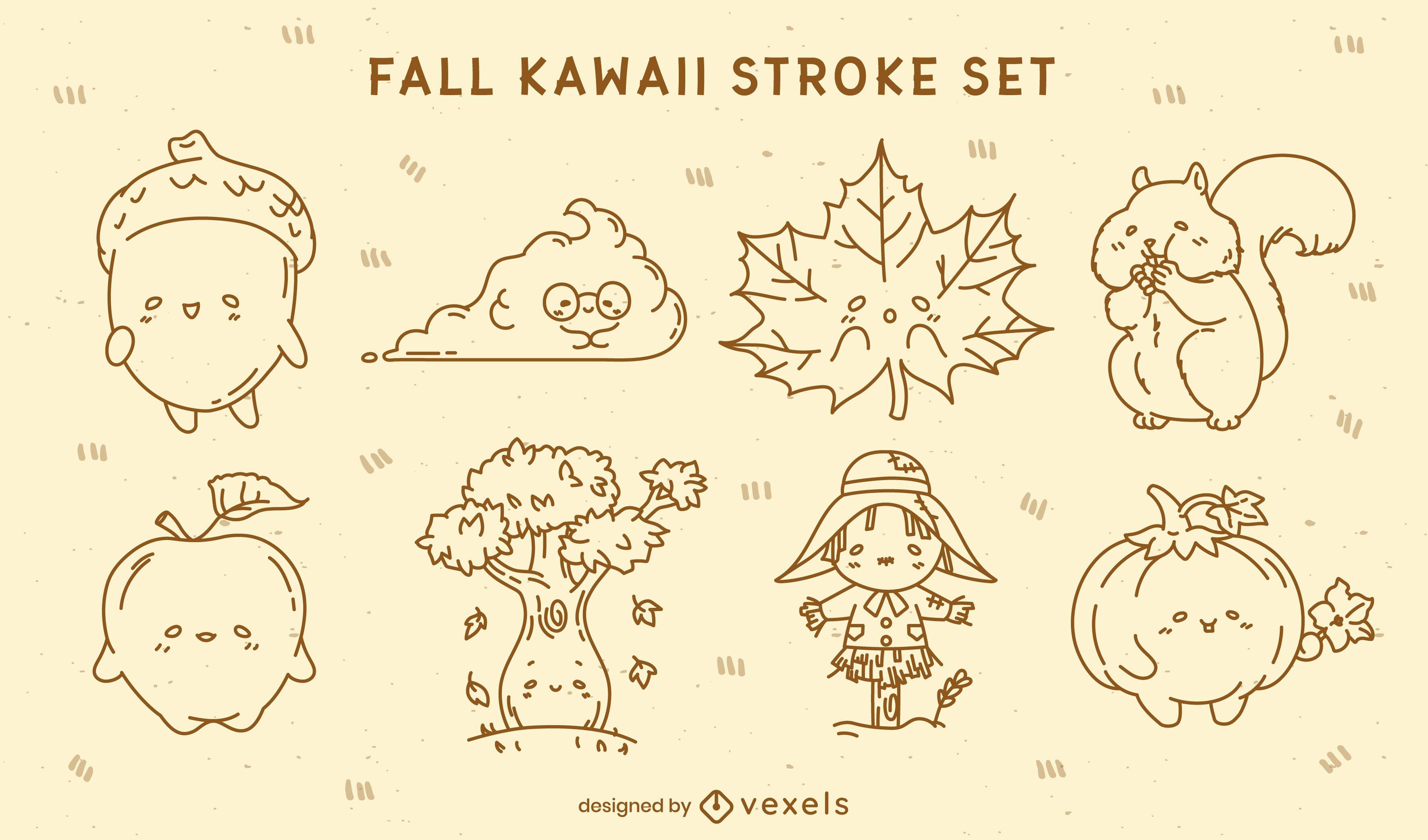 Kawaii autumn stroke characters set