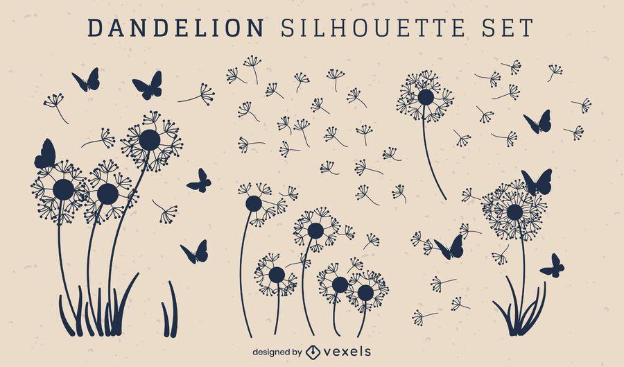 Set of dandelion silhouettes