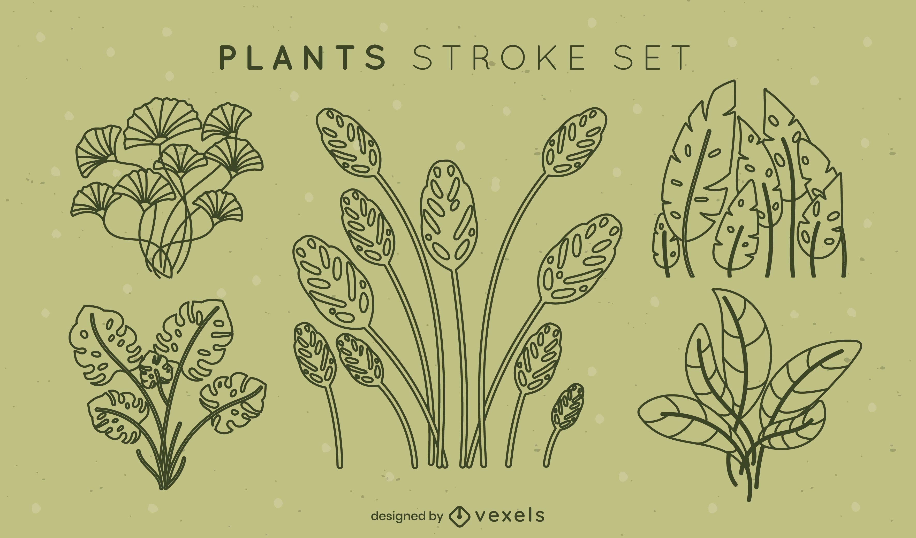Simple leaves stroke set