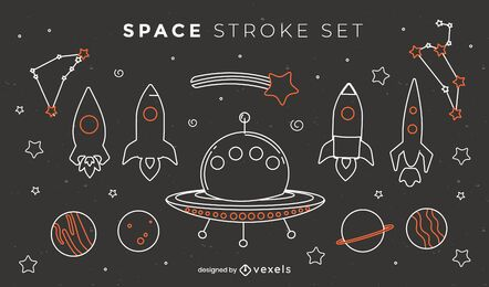 Stroke space rockets and ships set
