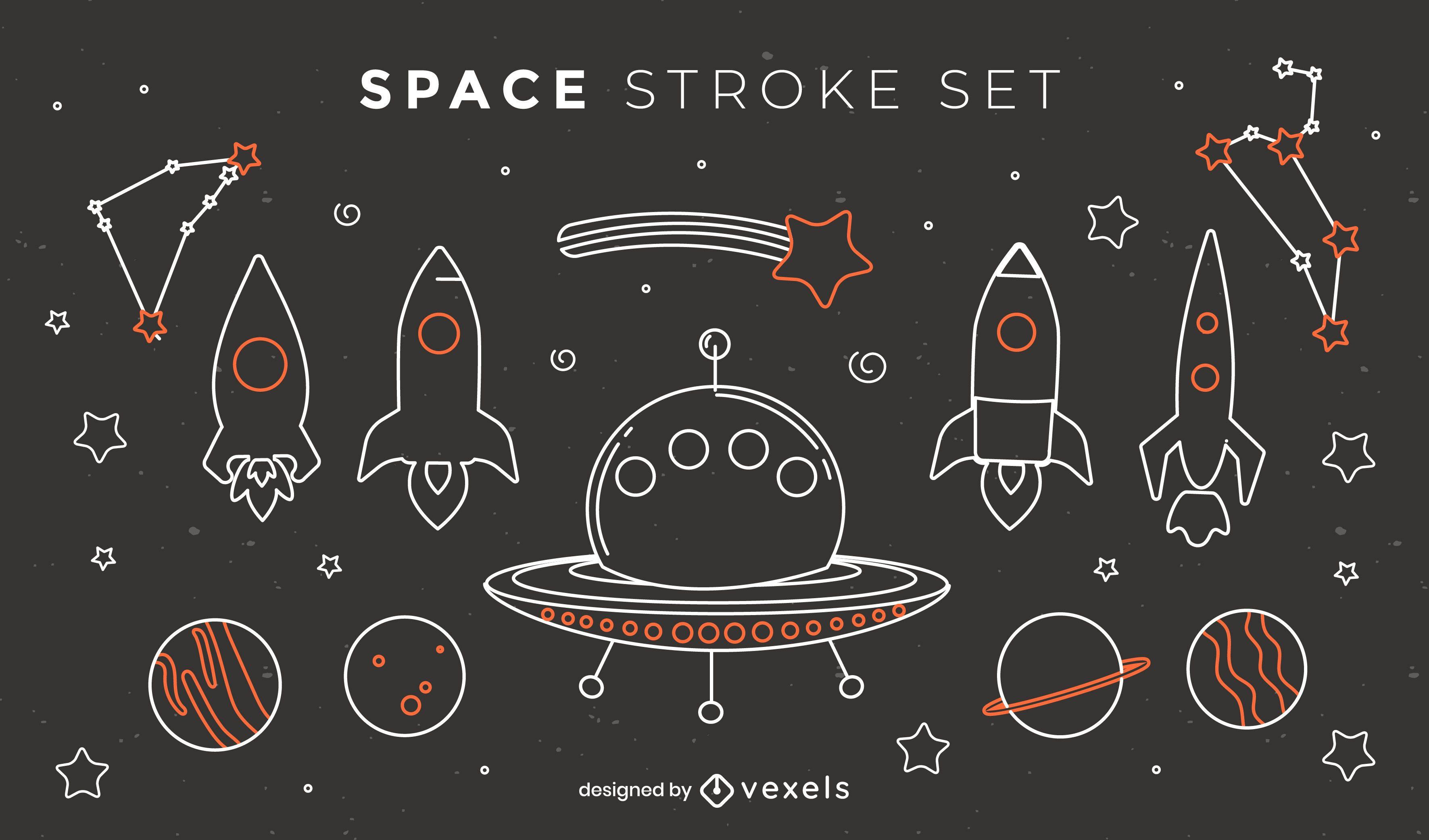Conjunto de cohetes y naves espaciales de trazo.