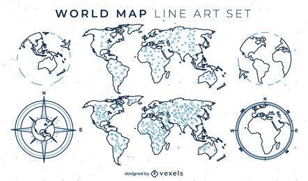 Weltkartensatz von Strichzeichnungselementen