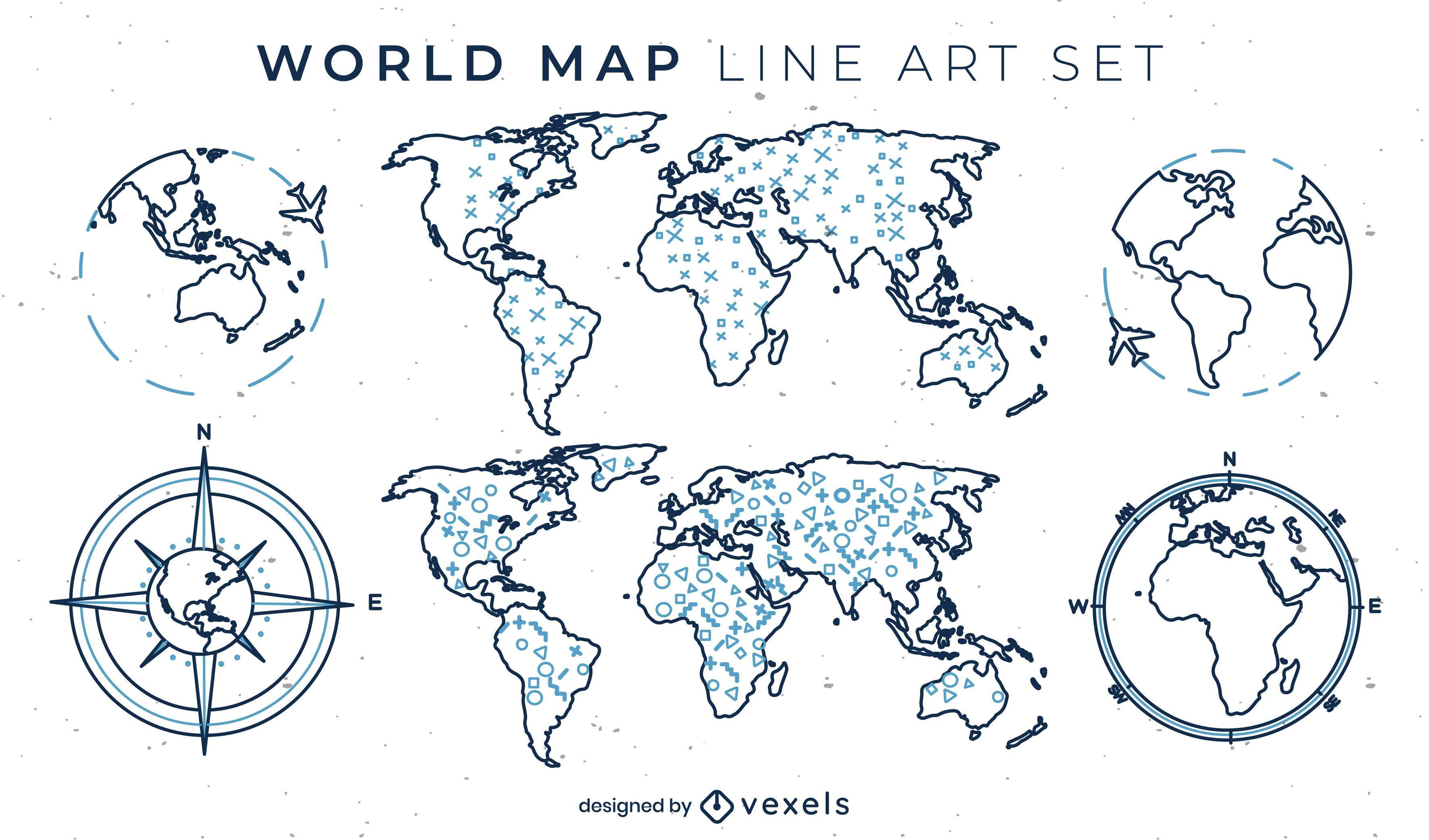 Conjunto de mapa-múndi de elementos de arte de linha