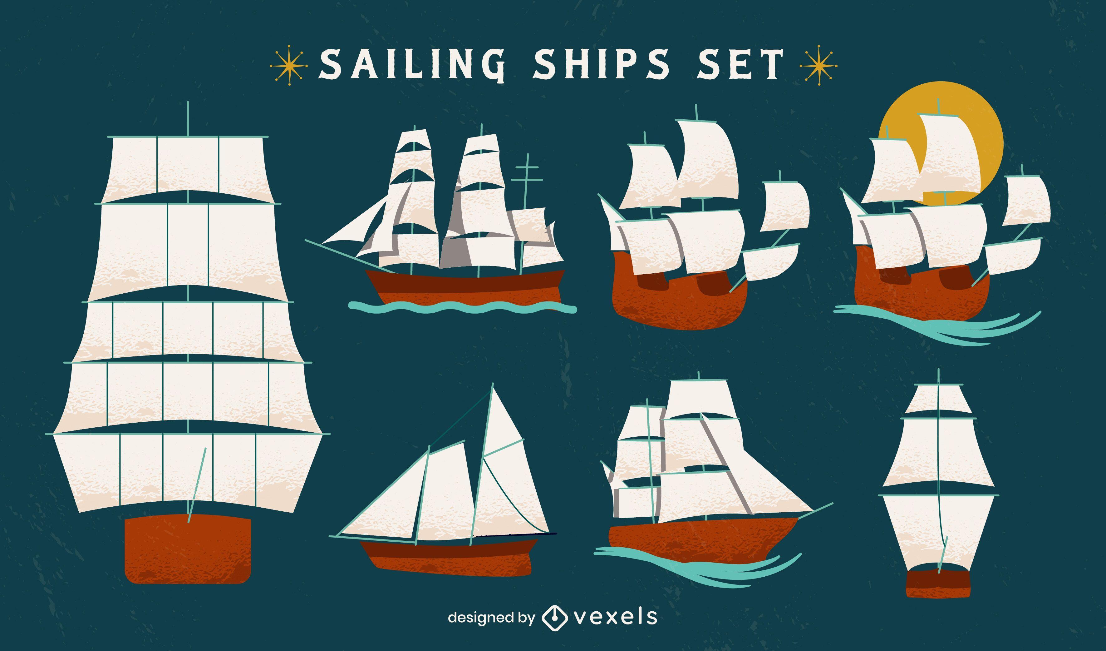 Conjunto plano de barcos de vela